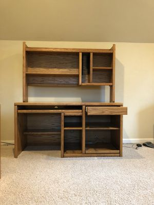 Beautiful Oak Desk-Lots of storage Bottom w/o shelve 58L x 24.5W x 30H, Shelf removable 36in H High quality for Sale in Springfield, OR