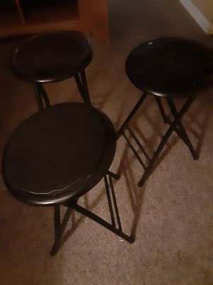 3 foldable metal stools all fold and lock perfectly $25 a piece new only $20 for all 3 for Sale in Plainfield, IN