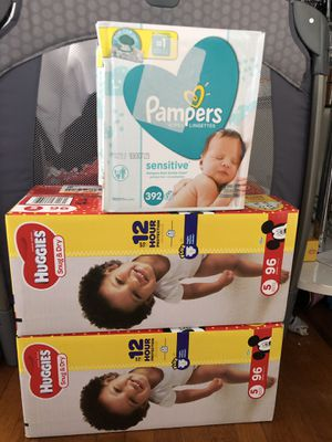 Huggies diapers size 5 plus pampers sensitive baby wipes for Sale in Oakland, CA