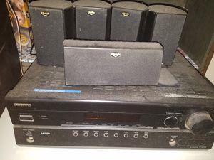 "Onkyo Tuner and Klipsch 5 speaker and 8"" subwoffer surround sound for Sale in Fresno, CA"