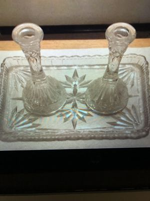Small Vintage Glass Tray With Vases for Sale in Alta Loma, CA