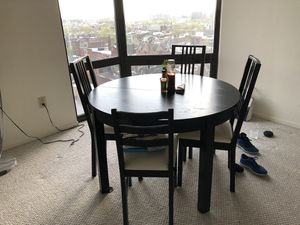 Round dining table (black/ brown) with 4 chairs for Sale in MIDDLE CITY WEST, PA