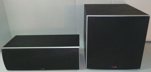 POLK AUDIO PSW10 SUBWOOFER AND CSM BLACK CENTER SPEAKER for Sale in Long Branch,  NJ