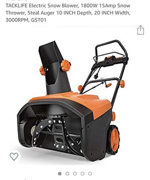 TACKLIFE Electric Snow Blower, 1800W 15Amp Snow Thrower, Steal Auger 10 INCH Depth, 20 INCH Width, 3000RPM, GST01 for Sale in Philadelphia, PA