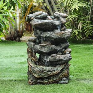 Cement 28 in. H Cascading Rock Outdoor Fountain for Sale in Whittier, CA