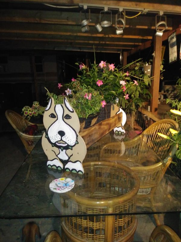 Handmade Pitbull Planter For Sale In San Antonio Tx