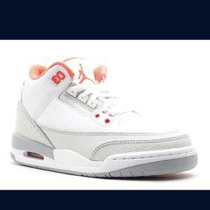 Girls Air Jordan 3 Retro (white/crimson grey/coral/orange) for Sale in Portland, OR
