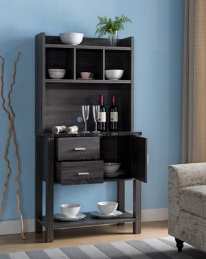 Bakers Rack/Wine Cabinet, Distressed Grey and Black for Sale in Santa Ana, CA