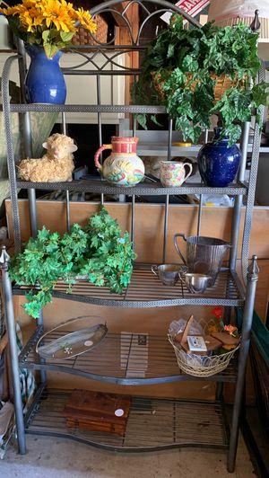Lovely metal baker rack use inside or out. 5 shelves 36 w x6 ft H for Sale in Irvine, CA