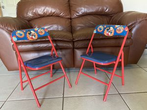 Kids mickey mouse chairs. Good and sturdy. Has latch to lock in place and fold up. Used but in great shape for Sale in Deltona, FL