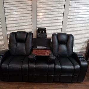 Leather Sofa Powered Headrest, Power Recline, USB, LEF for Sale in Holly Springs, NC