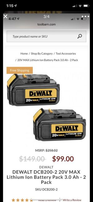 DEWALT 20V MAX Battery, Premium 3.0Ah Double Pack (DCB200-2) for Sale in Feasterville-Trevose, PA