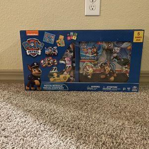 PAW Patrol Mega Bundle 5 Games Set Toy Kids Puzzle Dominoes Jumbo Cards Wood for Sale in Humble, TX