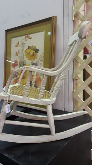 Vintage child's wood and cane rocker for Sale in Riverview, FL