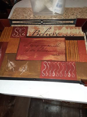 Believe wood/metal tray & 2 small decorative plates )25.00 firm for Sale in Cleveland, TN