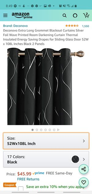 Deconovo Extra Long Grommet Blackout Curtains 52W x 108L Black for Sale in Katy, TX