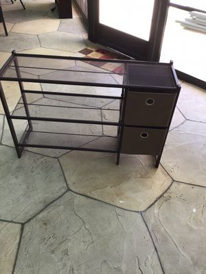 METAL BROWN CABINET SHOES WITH TWO CHAIRS DRAWERS for Sale in Lake Worth, FL