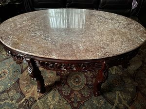 Beautiful Wood Mármol coffee table With 2 table lamp for Sale in Douglasville, GA