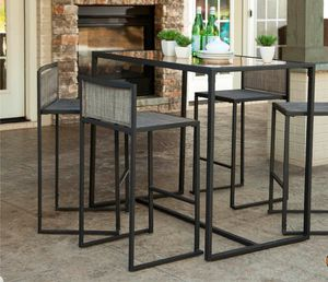 5 Piece High Dining Set for Garden and Patio (Black) for Sale in Los Angeles, CA