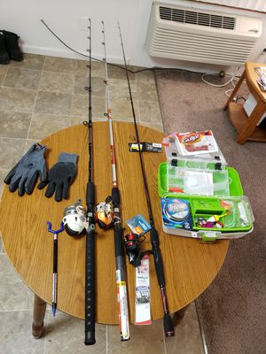 Complete fishing set. Brand new black max graphite pole and two like new closed reel rods. for Sale in Carbondale, IL