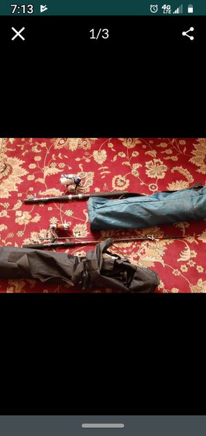 2 fish rods genesis brand and reels and 2 chairs in og bag for Sale in Anaheim, CA