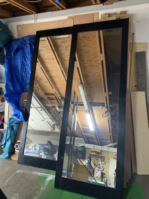 "8ft Tall black mirror barn doors 96""/34 for Sale in Rancho Cucamonga, CA"