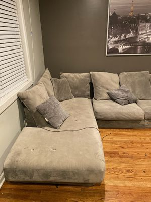 Grey suede sectional couch for Sale in Jersey City, NJ