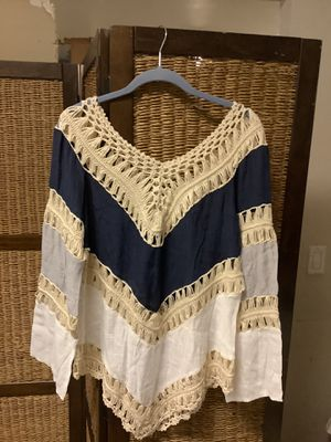Long sleeve embroidered crochet top for Sale in Chelan, WA
