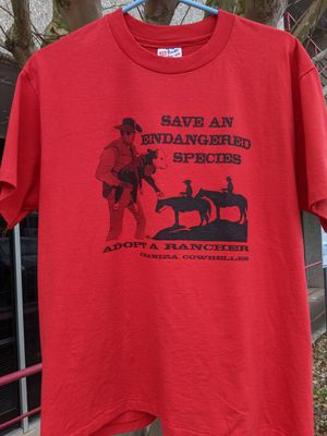 Large. Vintage. Single stitch shirt. Save an Endangered species. Adopt a rancher. Awesome shirt for Sale in San Antonio, TX
