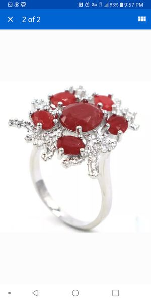 Beautiful genuine Ruby with created Sapphire silver filled ring size7.25. Has a high setting for Sale in Citrus Heights, CA