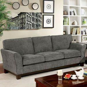GRAY TIGHT WOVEN CHENILLE SOFA Flared Arms Welt Trim Box Cushion Seat for Sale in Pico Rivera, CA