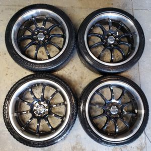 17 Drag Racing Deep Dish Black wheels for Sale in Chino, CA