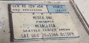RARE METALLICA 1986 Seattle concert ticket stub for Sale in Everett, WA
