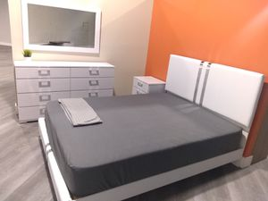 Queen bed frame and dessert and mirror and night stand and mattress. Free delivery for Sale in Hialeah, FL