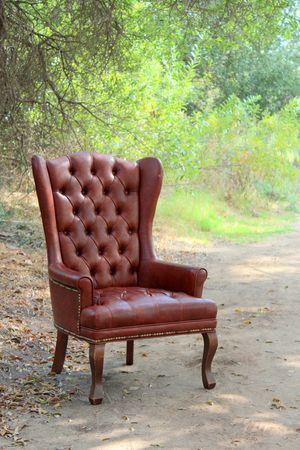 Vintage Brown Leather Style Chair - Mid Century for Sale in Murrieta, CA