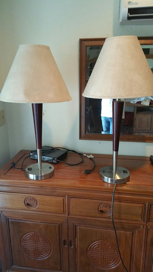 End tables lamps with outlet on base