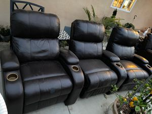 3 piece real leather theater seats/ recliners/ removable backs for Sale in Anaheim, CA