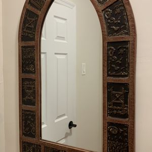 Antique Mirror And Dried Palm Leave Frond for Sale in Yonkers, NY
