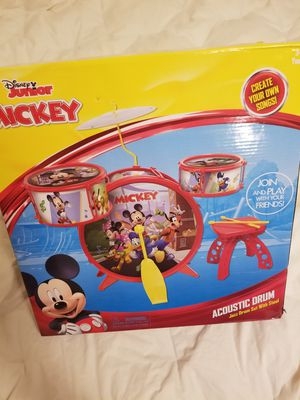 Disney Mickey Mouse Junior Acoustic Jazz Drum Set With Stool for Sale in Vancouver, WA