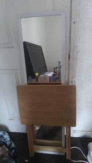 Full Body Size Mirror . Side Table Foldable for Sale in San Bernardino, CA
