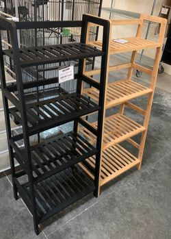 NEW $30 each 19x12x45 inches tall bamboo bookshelf shelf 4 tiers natural or black color for Sale in Los Angeles,  CA