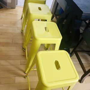 Set of ( 4 ) Decorative Metal Indoor/Outdoor Yellow Bar Stools for Sale in Dallas, TX
