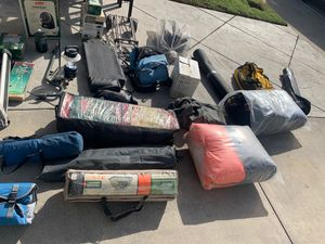Camping lamps, sleeping bags, water containers, stoves etc for Sale in Montclair, CA