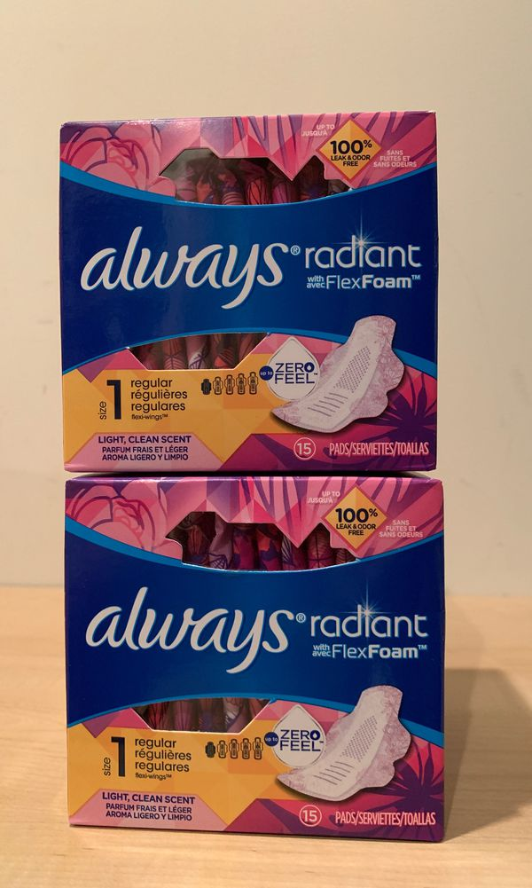 2 Always Radiant flex foam pads: total 30 pads for $5