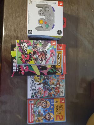 3 switch Games and 1 wireless gamescube controller for Sale in Austin, TX