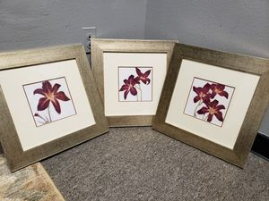 Set of 3 Framed Paintings (Lillies) for Sale in Eugene, OR
