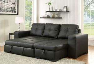 Black convertible pullout sofa bed couch sectional for Sale in Downey, CA