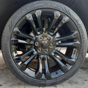 "22"" Chevy Silverado GMC Sierra Wheels & Tires Tahoe All Black Yukon Escalade set of 4 for Sale in Los Angeles, CA"