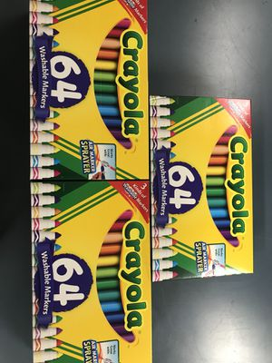 (3) 64 pack of Crayola washable marks asking $30 for all 3 of them all brand new for Sale in San Diego, CA