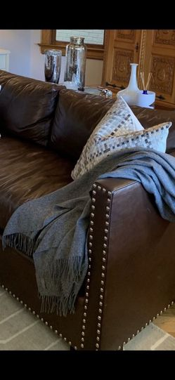 Williams Sonoma Leather Sofa with Nailheads for Sale in Portland,  OR